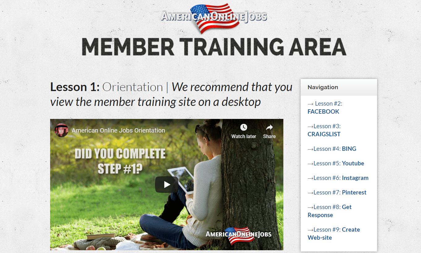 American Online Jobs Members Training Area