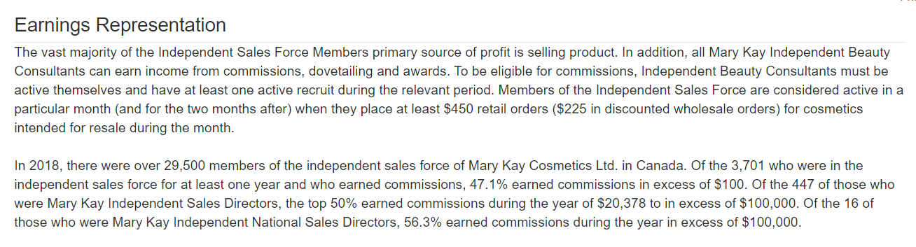 Mary Kay Earnings Representation