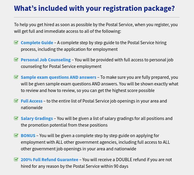 Postal Jobs Source Registration Package
