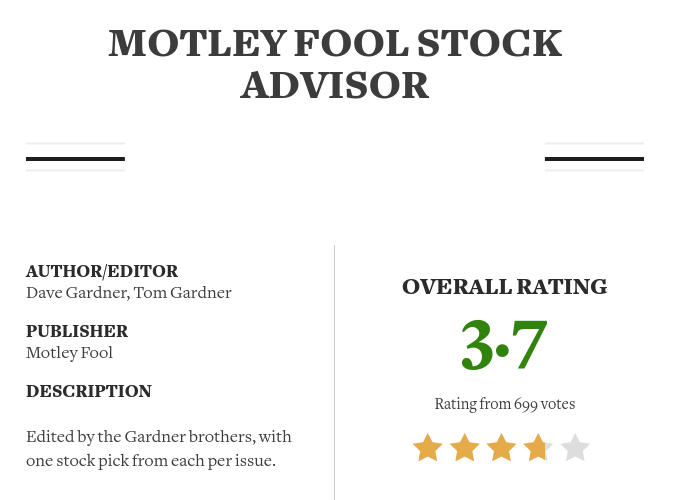 Stock Advisor rating Stock Gumshoe